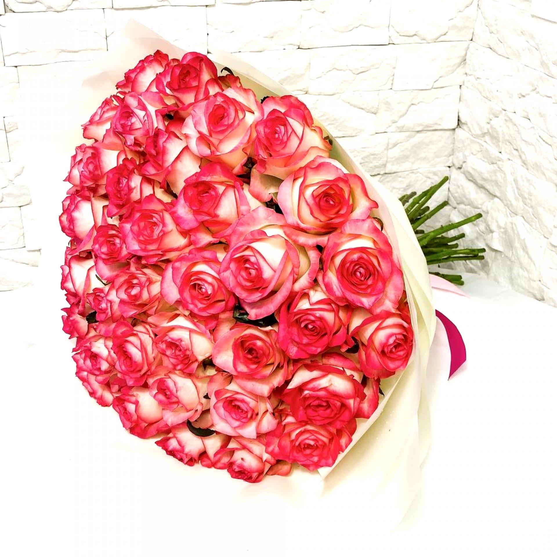 Букет нежно-розовых роз (51 шт)