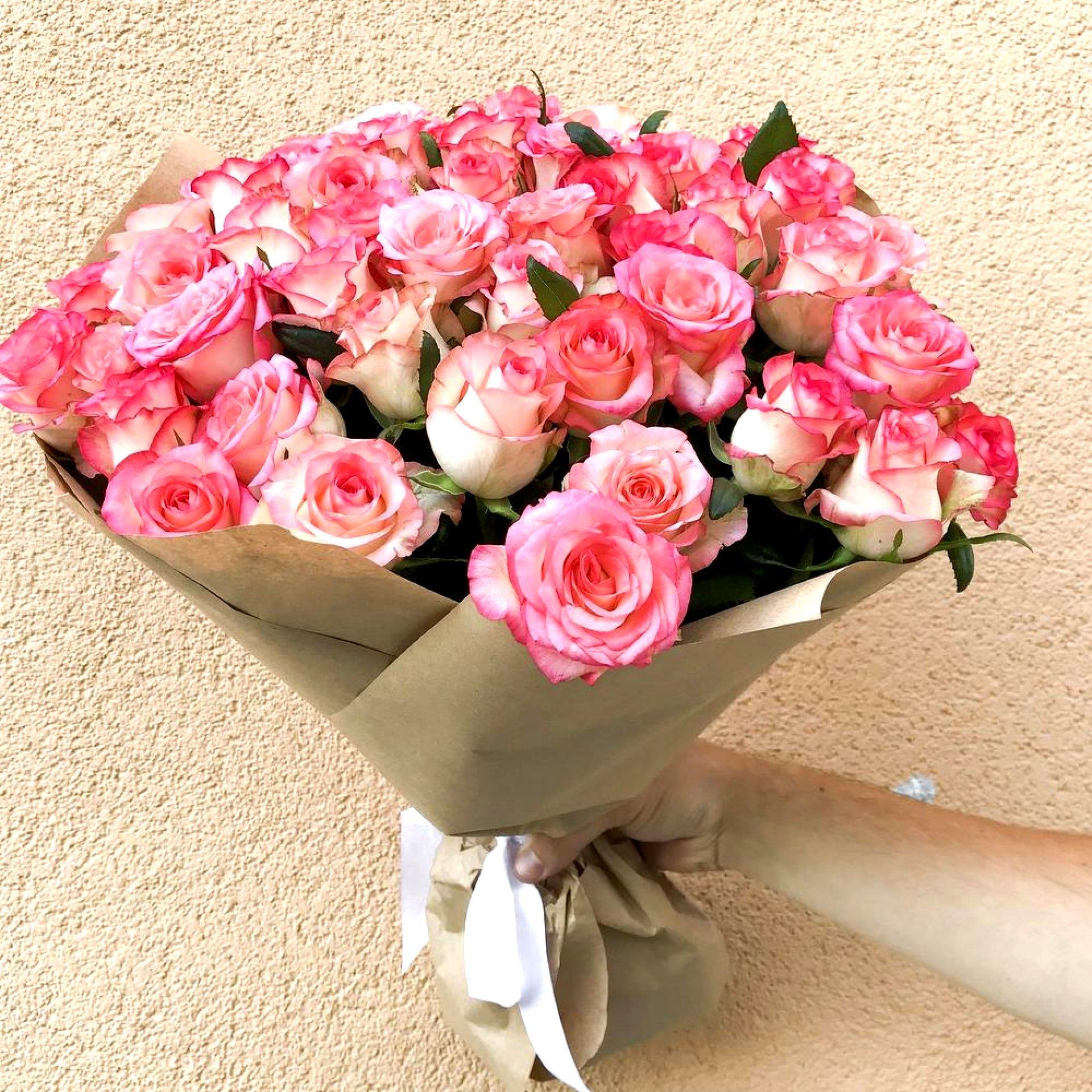 Букет нежно-розовых роз (35 шт)