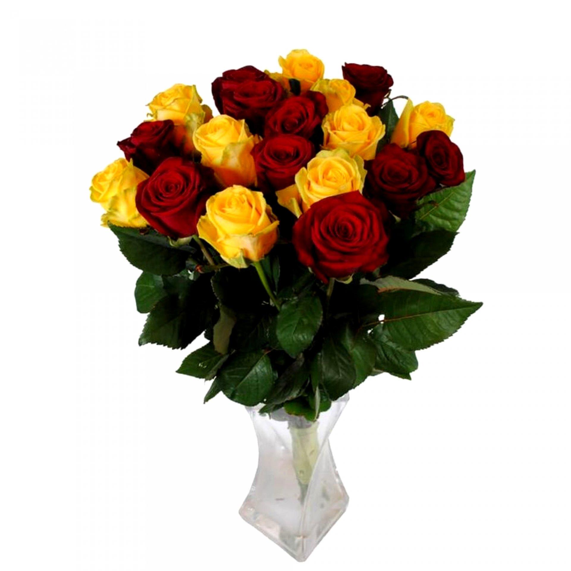Букет желтых и красных роз (19 шт)