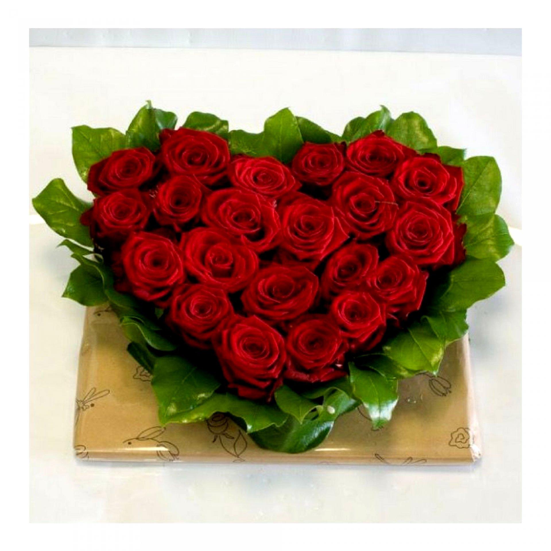 Сердце из роз (21 шт)