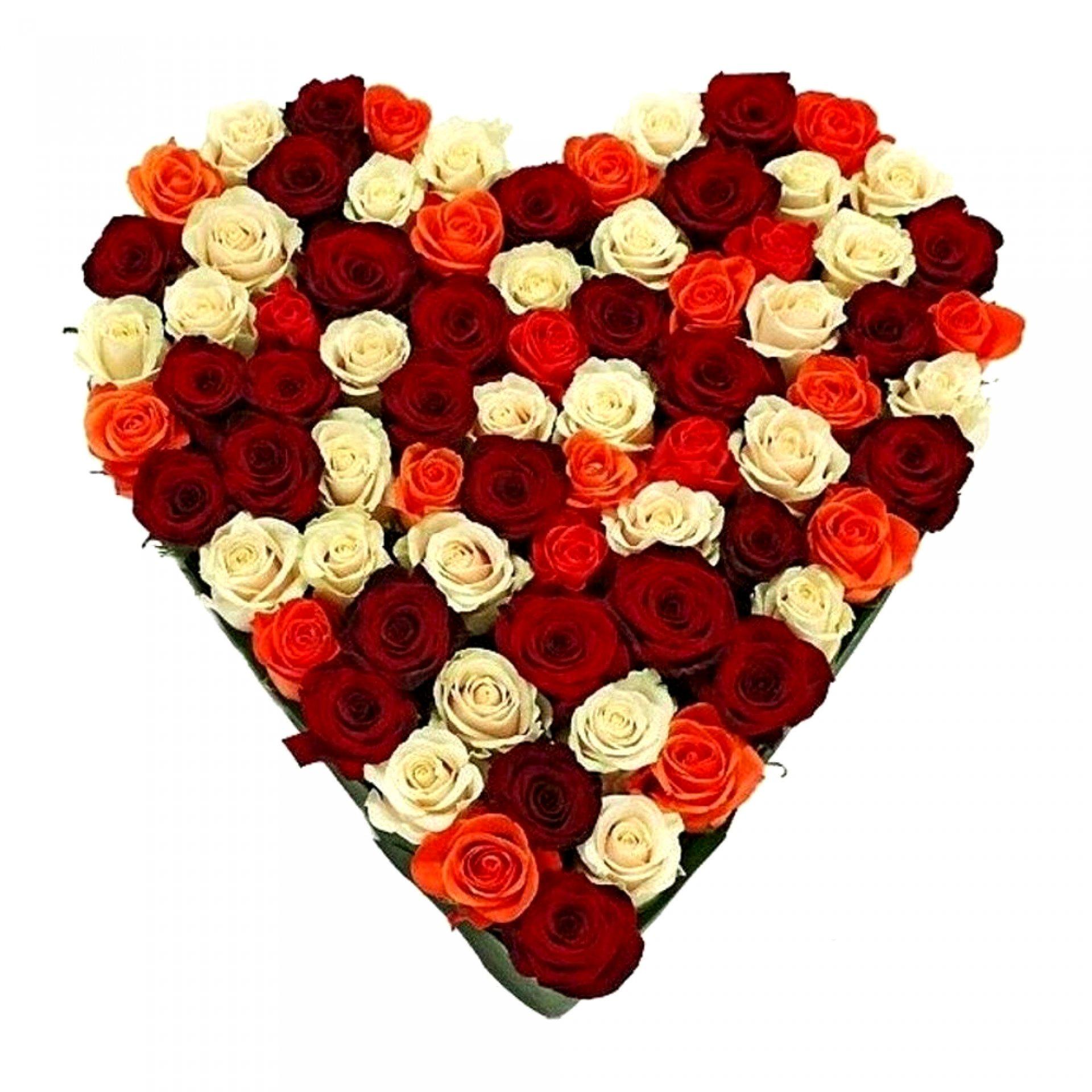 Сердце из роз микс (75 шт)