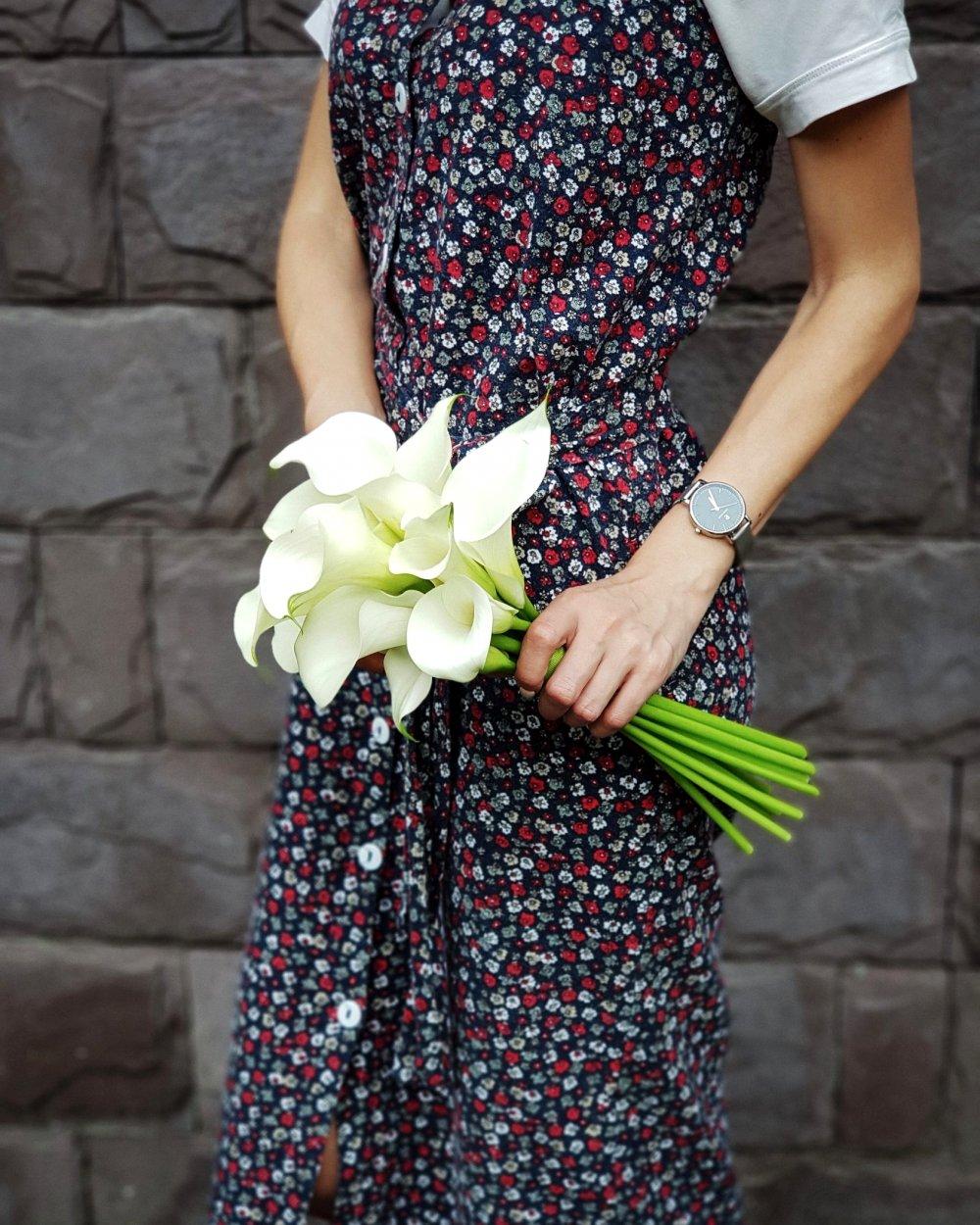 Свадебный букет с белыми каллами