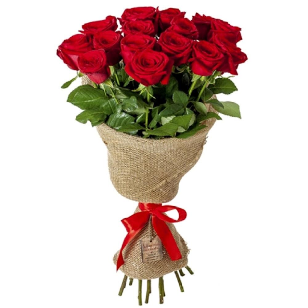 Букет в мешковине из красных роз №3